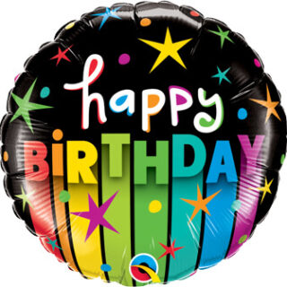 black happy birthday balloon