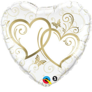 gold just married balloon