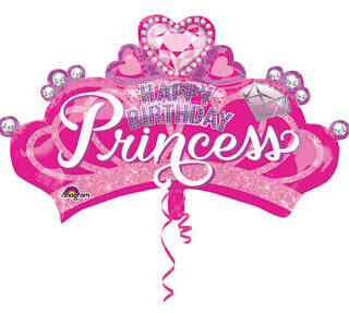 pink princess crown balloon