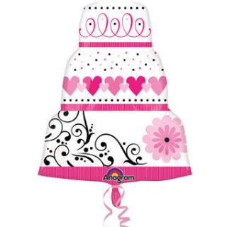 pink wedding cake balloon