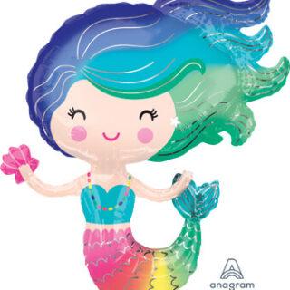 large rainbow mermaid balloon