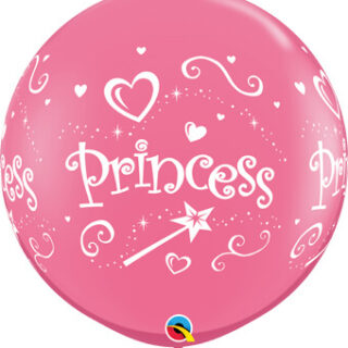 round pink princess balloon
