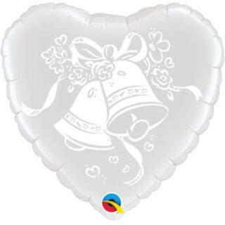 white wedding bells balloon