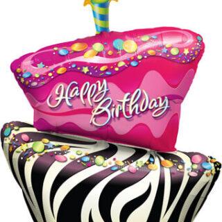 zebra birthday cake balloon